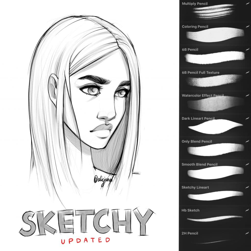 Sketchy brush set procreate