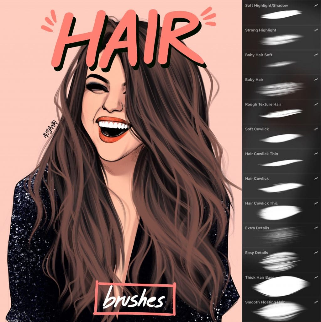 Easy And Intuitive Hair Brush Set For Procreate Alicja Prints