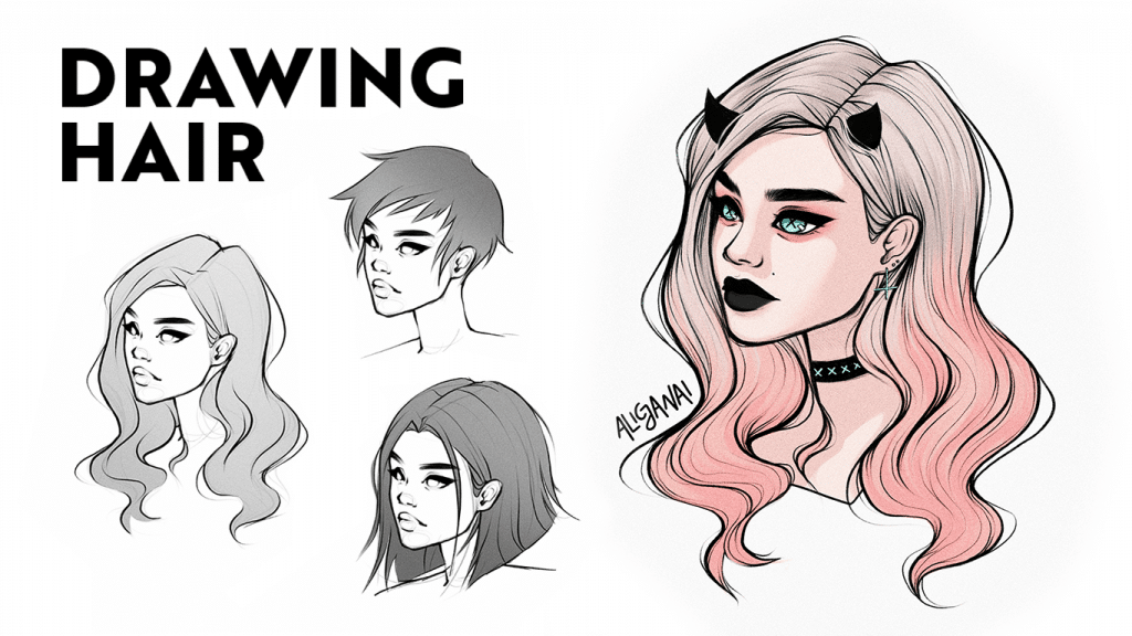 How To Draw Hair Fast And Easy For Beginners Step By Step Alicja Prints