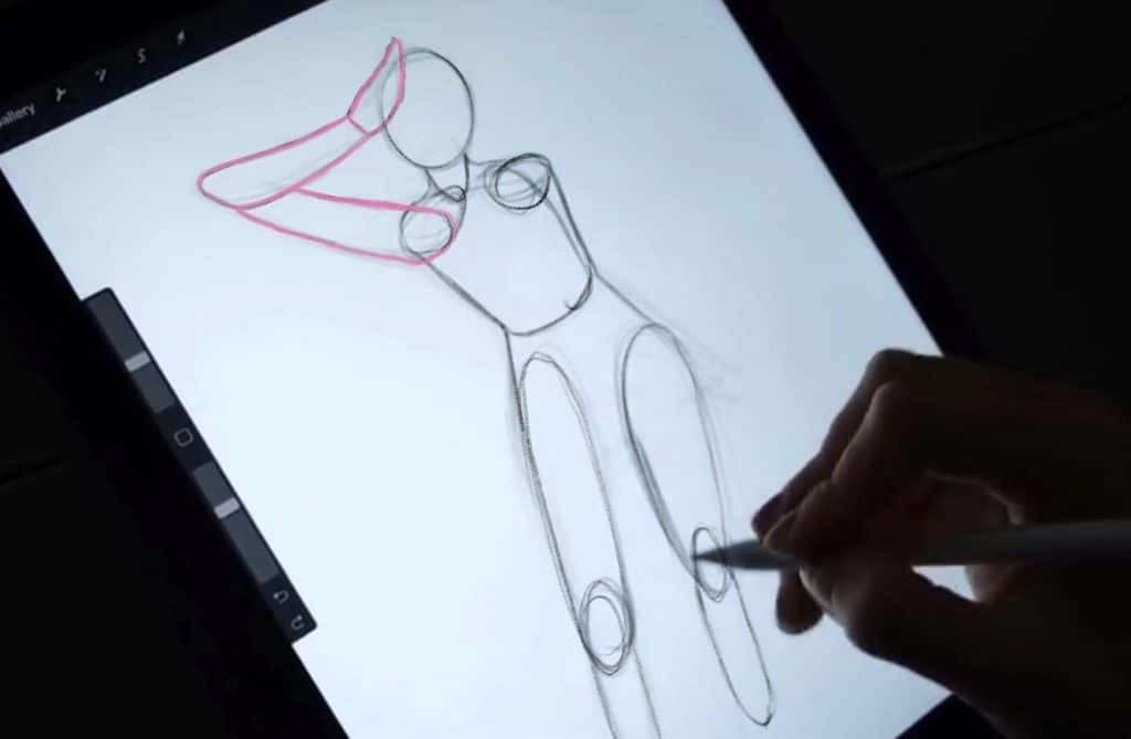 When sketching, leave the minor details such as the hands for last.