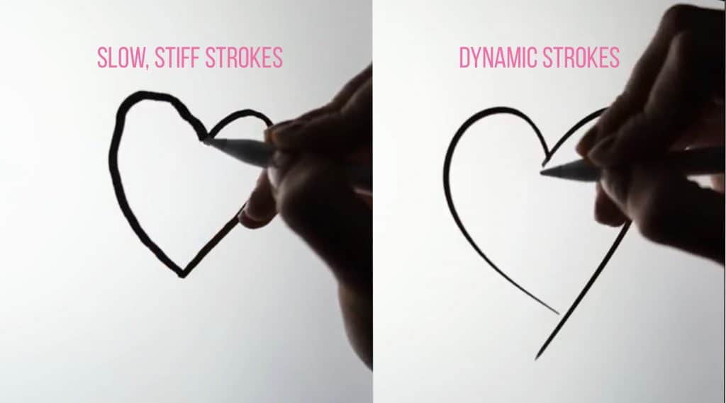 To draw less stiff, use faster, more dynamic strokes.
