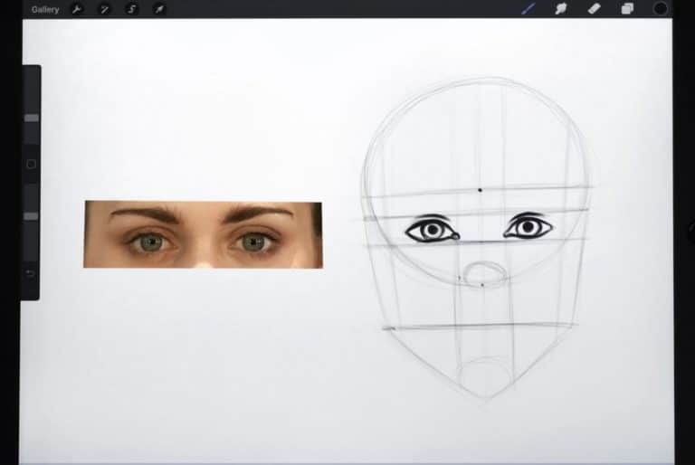 reference picture and rough sketch of the small and round eyes miley cyrus
