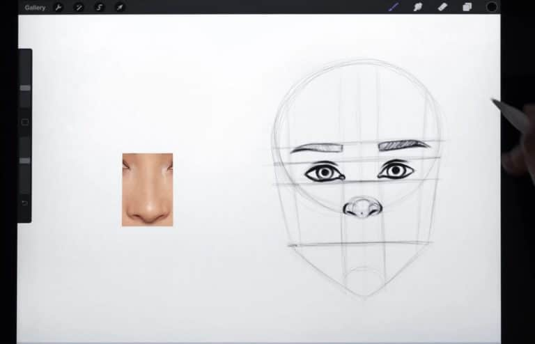 reference picture and final sketch of a straight nose female How to draw faces tutorial example procreate easy tutorial