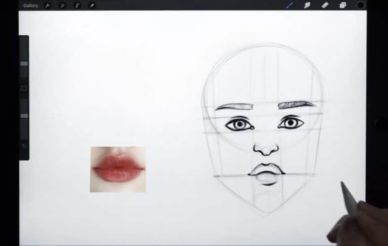 reference picture and final sketch of a pair of lips with a defined cupid's bow How to draw faces tutorial example procreate easy tutorial