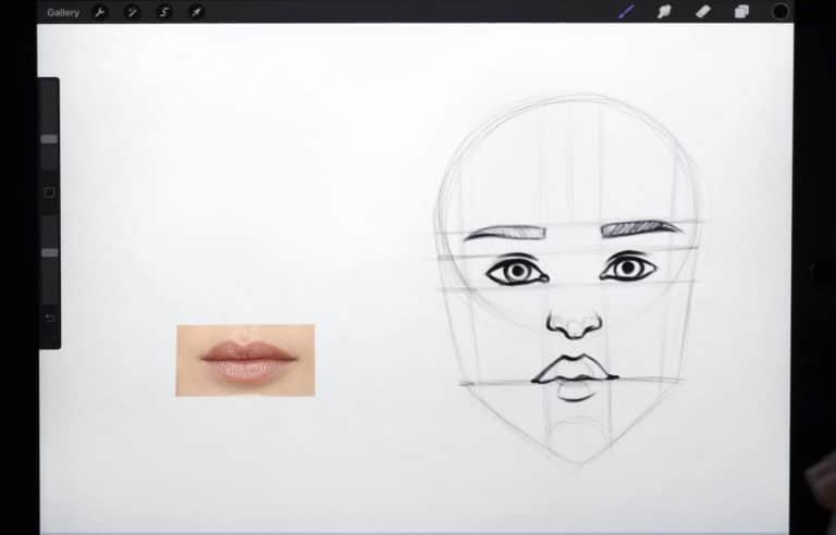 reference picture and final sketch of lips with a bigger upper lip