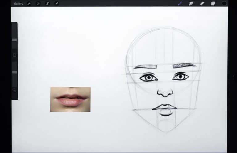 reference and final sketch of a pair of lips with a bigger bottom lip How to draw faces tutorial example procreate easy tutorial