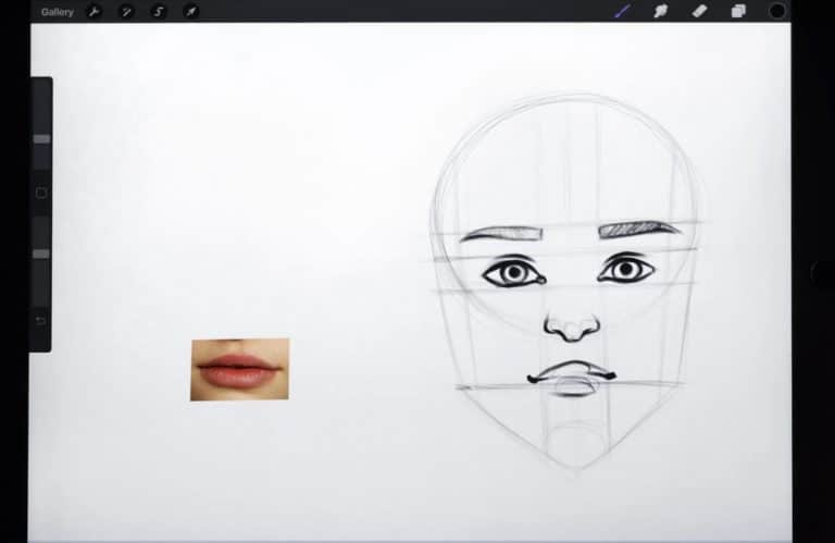 reference picture and a final sketch of a pair of thin lips and subtle cupid's bow