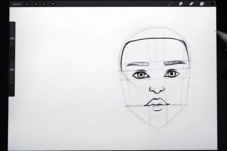 final sketch of a traditionally caucasian hair line How to draw faces tutorial example procreate easy tutorial