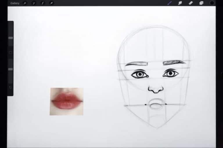 construction lines to draw any lips How to draw faces tutorial example procreate easy tutorial