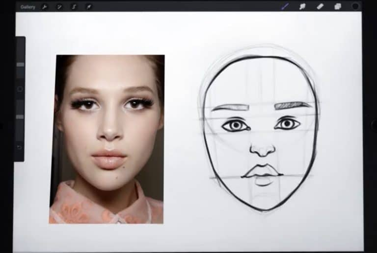 reference picture and final sketch of an oval