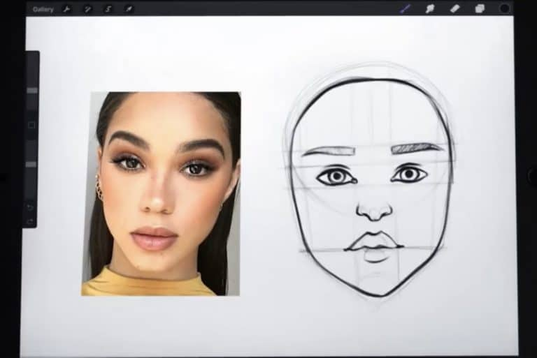 reference picture and final sketch of a small and pointy chin How to draw faces tutorial example procreate easy tutorial