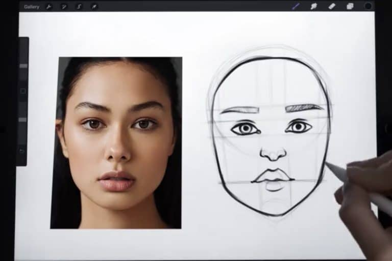 reference picture and final sketch of a small and short chin example procreate how to draw faces step by step tutorial