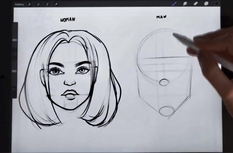construction lines of a male face How to draw faces tutorial example procreate easy tutorial