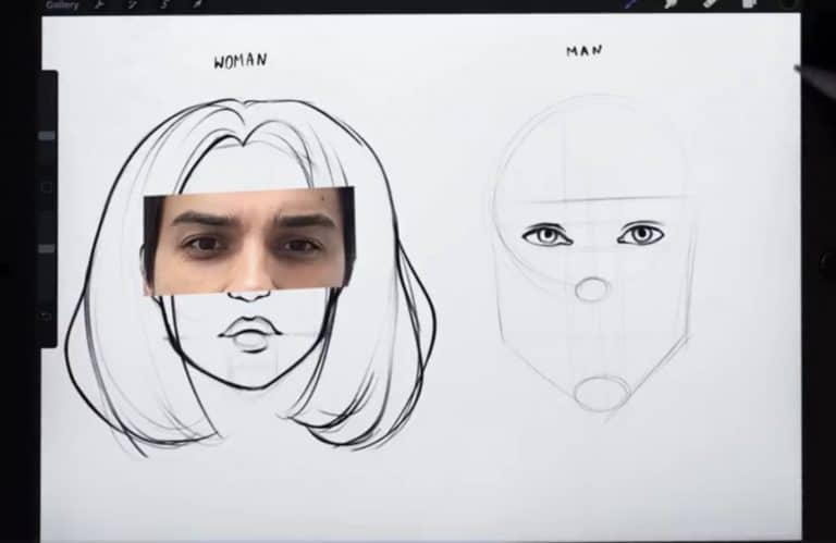 reference picture and final sketch of gender neutral eyes How to draw faces tutorial example procreate easy tutorial