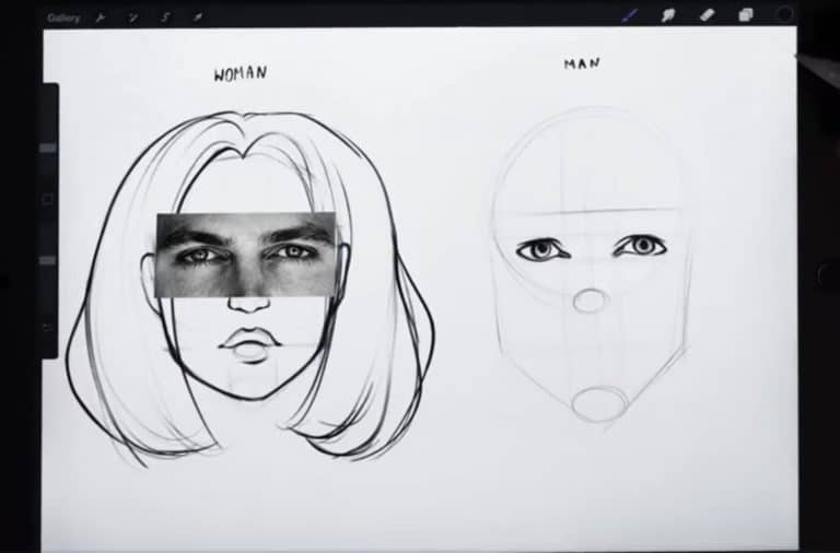 reference picture and final sketch of hooded eyes