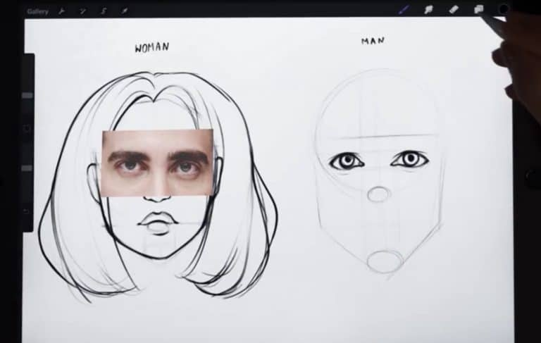 reference picture and final sketch of big and hooded eyes. How to draw faces tutorial example procreate easy tutorial
