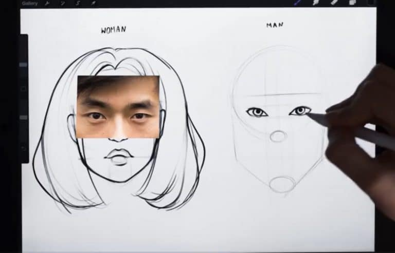 reference picture and final sketch of asian eyes How to draw faces tutorial example procreate easy tutorial