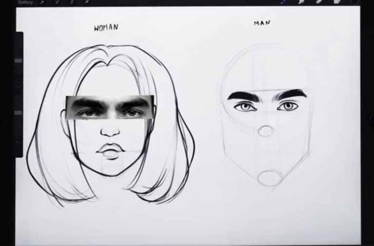 reference picture and final sketch of a pair of hairy eyebrows
