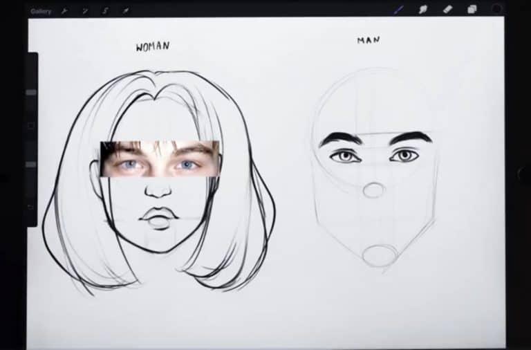 reference picture and final sketch of high and rounded eyebrows How to draw faces tutorial example procreate easy tutorial