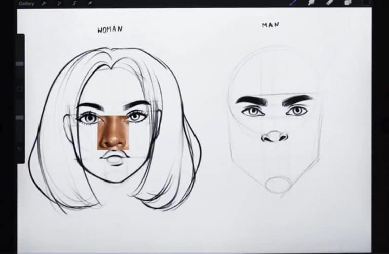 reference picture and final sketch of a wide nose How to draw faces tutorial example procreate easy tutorial