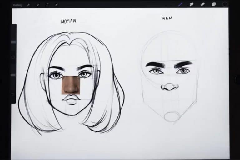 reference picture and final sketch of a downturned nose How to draw faces tutorial example procreate easy tutorial