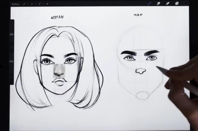 reference picture and final sketch of a thin and angular nose