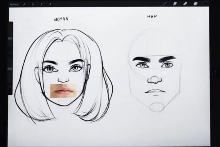 reference picture and final sketch of thin and even lips How to draw faces tutorial example procreate easy tutorial