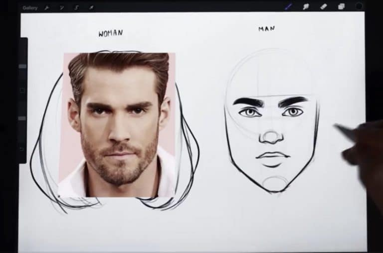 reference picture and final sketch of an oblong jawline