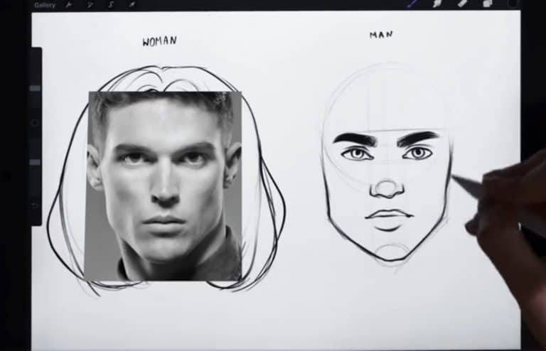 reference picture and final sketch of a short and angular jawline How to draw faces tutorial example procreate easy tutorial