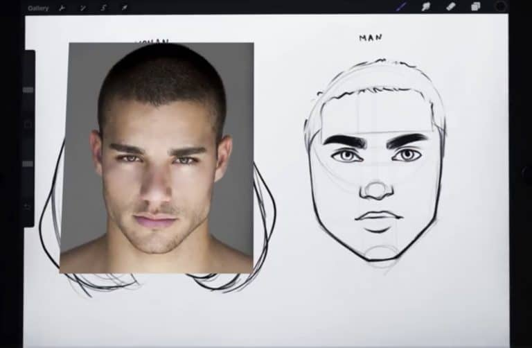 reference picture and final sketch of a buzz cut How to draw faces tutorial example procreate easy tutorial