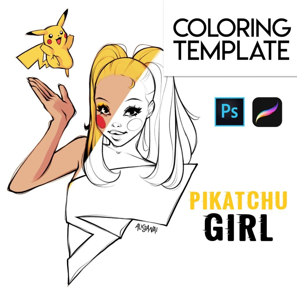 Pikachu Girl Coloring Page for Procreate, Photoshop and ...