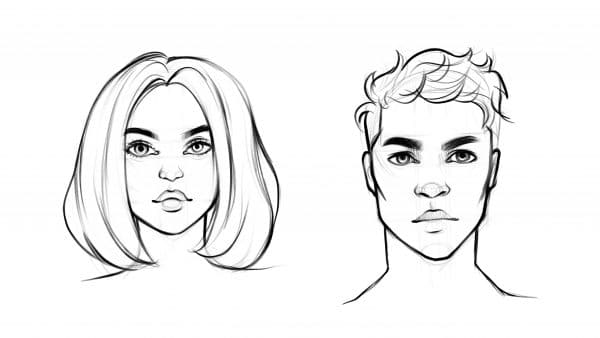 How to draw faces tutorial step by step for beginners male and female